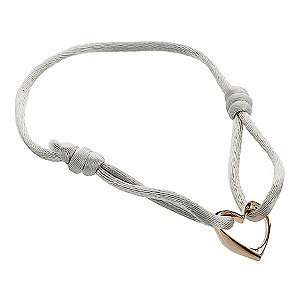 Eternal Silver rose gold heart & grey cord bracelet - Product number 9071482