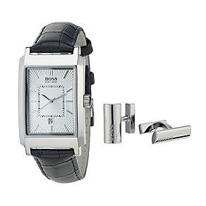Hugo Boss men's black strap watch & cufflinks set - Product number 9074597
