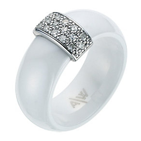 White Ceramic Diamond Ring - Product number 9075518