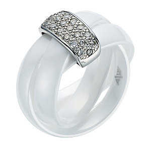 White Ceramic Diamond Ring - Product number 9075550