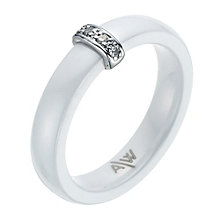 White Ceramic, Sterling Silver & Diamond Ring - Product number 9075593