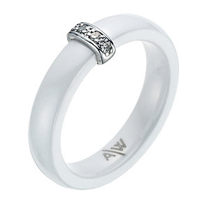 Amanda Wakeley white ceramic, sterling silver & diamond ring - Product number 9075593