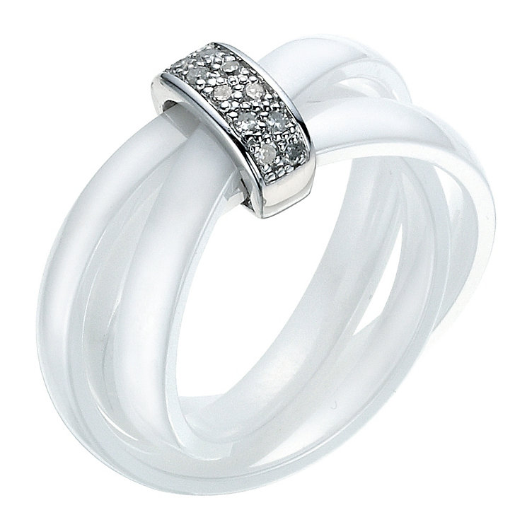 Amanda Wakeley white ceramic diamond & sterling silver ring - Product number 9075631