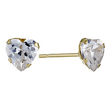 9ct Yellow Gold Cubic Zirconia Heart Earrings - Product number 9082301