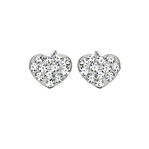 9ct White Gold Crystal Heart Earrings - Product number 9082352