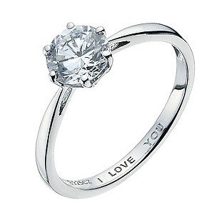 Silver & Platinum Cubic Zirconia I love You Ring - Product number 9082409