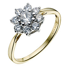 9ct Gold & Silver Cubic Zirconia Cluster Ring - Product number 9082697
