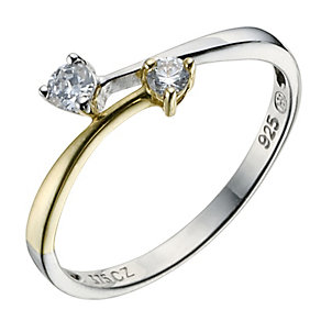 Sterling Silver 9ct Yellow Gold Cubic Zirconia Twist Ring - Product number 9083979