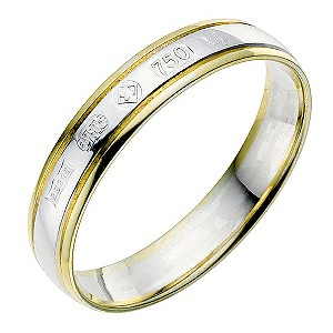 18ct two colour gold Jubilee wedding ring - Product number 9085149