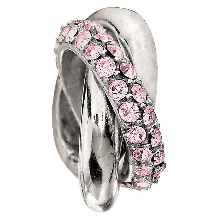 Chamilia silver & pink crystal rings bead - Product number 9085750