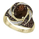 Le Vian 14ct yellow gold diamond & smoky quartz ring - Product number 9088725