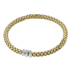 Fope Solo Flex-It 18ct yellow gold diamond bracelet - Product number 9092331