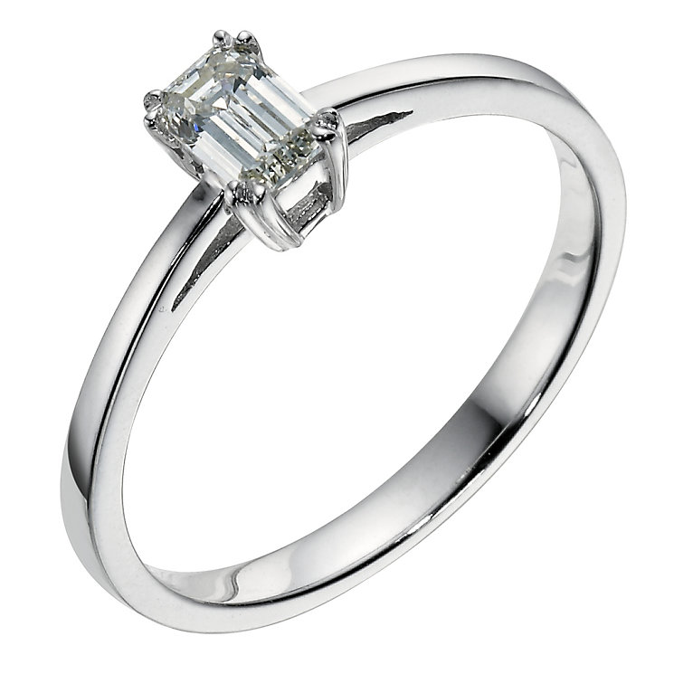 18ct white gold 0.33 carat emerald cut diamond ring - Product number 9094628