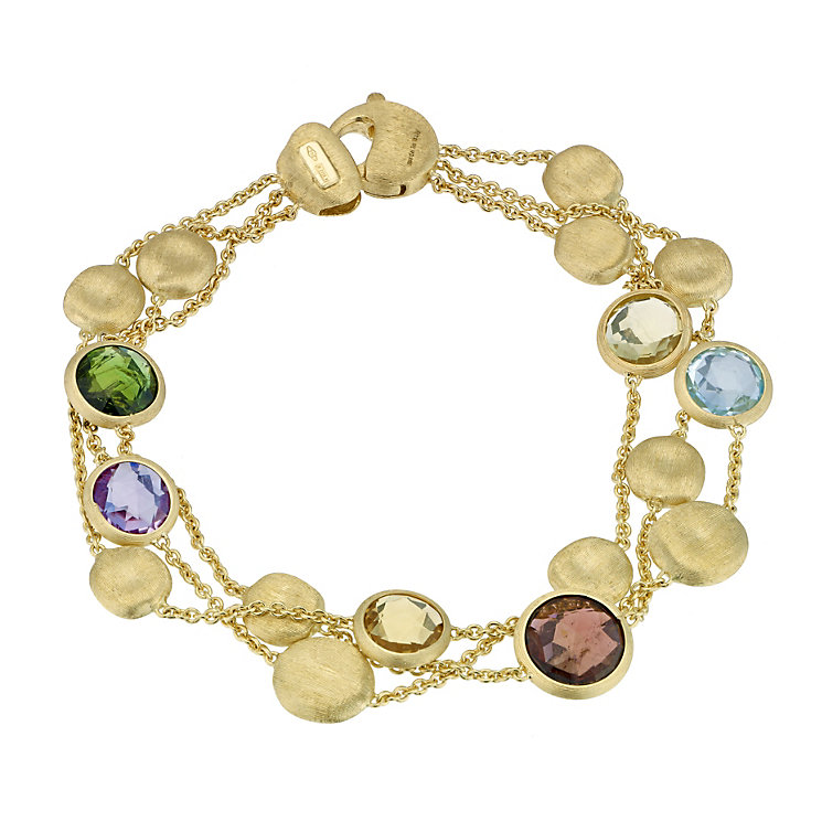 Marco Bicego 18ct gold Jaipur mix three stone bracelet - Product number 9095853
