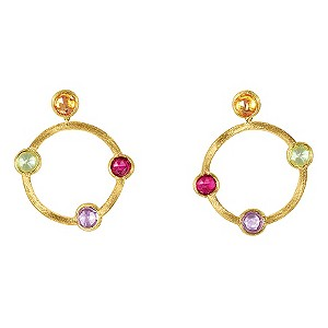 Marco Bicego 18ct yellow gold mix stone circle earrings - Product number 9096019