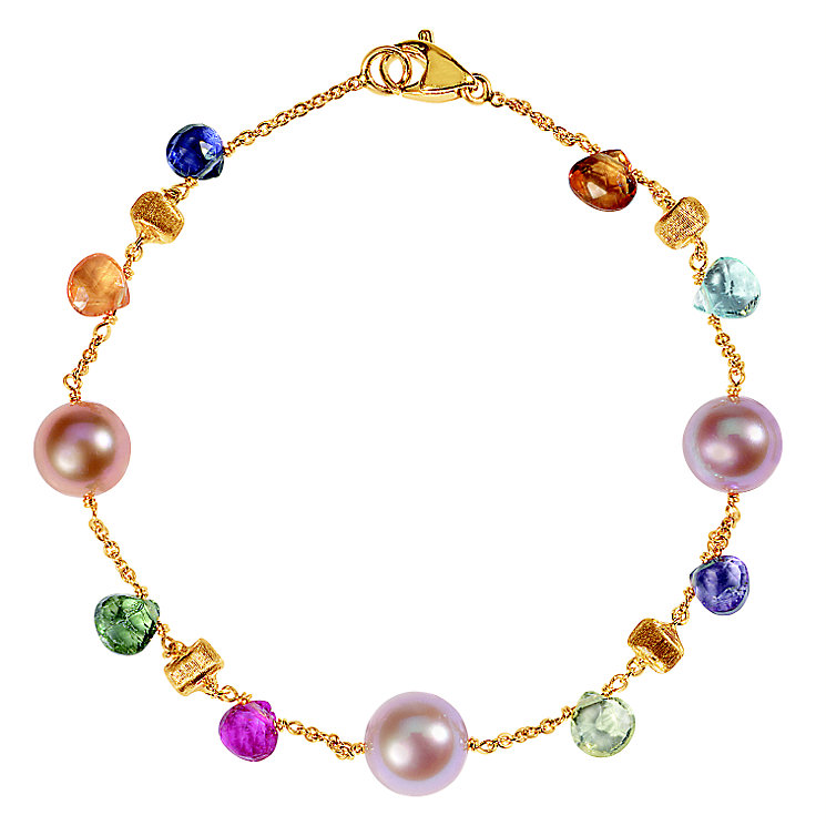 Marco Bicego 18ct yellow gold pearl and multi stone bracelet - Product number 9096302