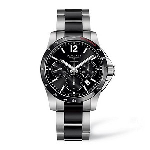 Longines stainless steel & black ceramic bracelet watch - Product number 9100016