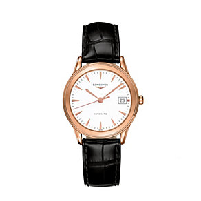 Longines black strap & 18ct rose gold watch - Product number 9100105
