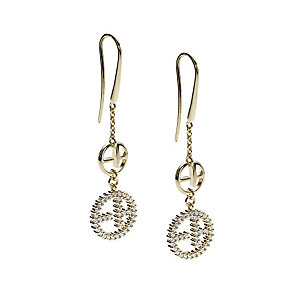Emporio Armani silver & gold plated logo drop earrings - Product number 9101772