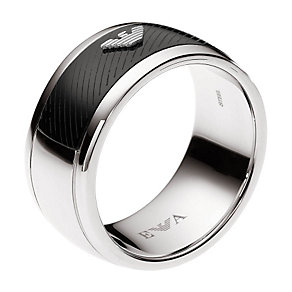 Emporio Armani stainless steel panel ring - size U - Product number 9101802