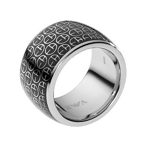 Emporio Armani black enamel ring - size M1/2 - Product number 9101853