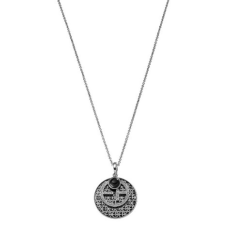 Armani stainless steel black logo necklace