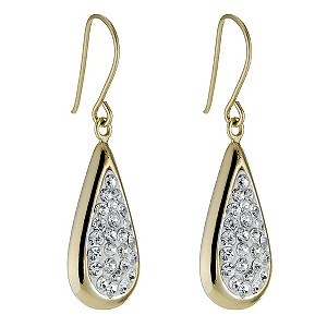 Sterling Silver & 9ct Yellow Gold Crystal Teardrop Earrings - Product number 9103465