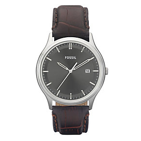 Fossil Men's Round Grey Dial Leather Strap Watch - Large - Product number 9105301