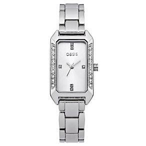 Oasis Ladies' Silver Stone Set Bracelet Watch - Product number 9110771