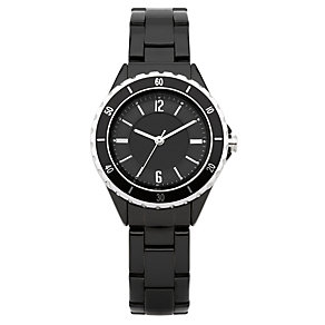 Oasis Ladies' Midi Sports Black & Silver Strap Watch - Product number 9110801