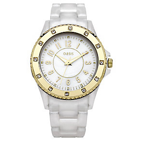 Oasis Ladies' Midi Sports White & Rose Gold Strap Watch - Product number 9110852