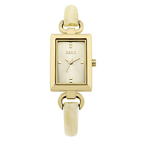 Oasis Ladies' Cream Plastic Half Bangle Watch - Product number 9110984