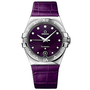 Omega Constellation 35mm ladies' purple leather strap watch - Product number 9117997