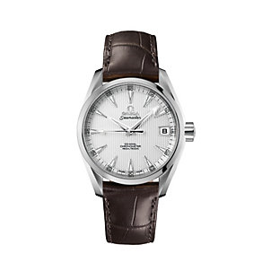 Omega Seamaster men's stainless steel brown strap watch - Product number 9118519