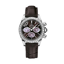 Omega De Ville ladies' brown leather strap watch - Product number 9119000