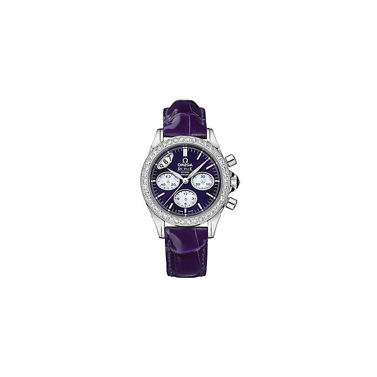 Omega De Ville Chronograph ladies' leather strap watch - Product number 9119019