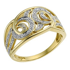 Sattva 22ct Yellow Gold & Certified Diamond Swirl Ring - Product number 9120734