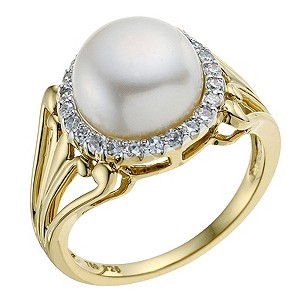 Sattva 18ct Yellow Gold 1/4 Carat Diamond & Pearl Ring - Product number 9121390