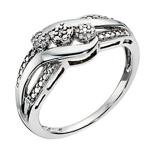 Silver & Diamond Three Cluster Ring - Product number 9123016