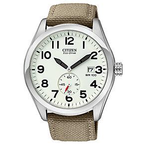 Citizen Men's Eco Drive Khaki Military Strap Watch - Product number 9123423