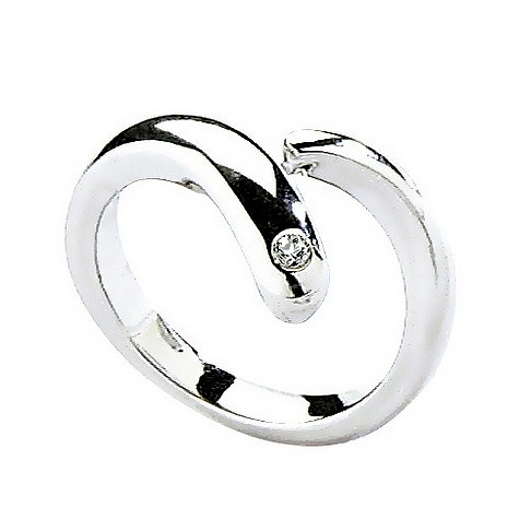 Hot Diamonds silver overlap twist ring Size L