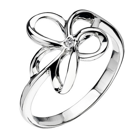 Hot Diamonds silver open flower ring Size L