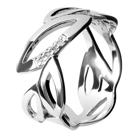 Hot Diamonds silver multi leaf ring Size L