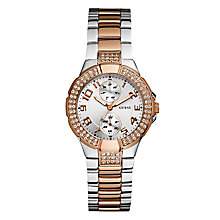 Guess Ladies' Mini Prism Silver & Rose Gold Bracelet Watch - Product number 9126457