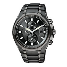 Citizen Men's Eco Drive Chronograph Black Strap Watch - Product number 9126619