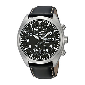 Seiko Men's Black Strap Watch - Product number 9128050