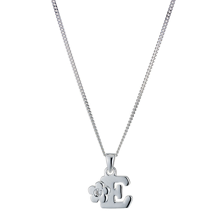 Children's Sterling Silver Initial E Pendant - Product number 9128247