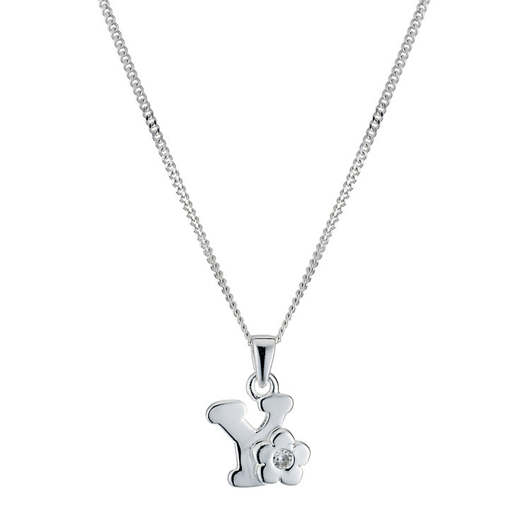 Children's Sterling Silver Initial Y Pendant - Product number 9128476