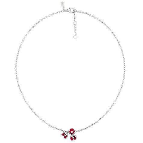 Cacharel sterling silver enamel poppy necklace
