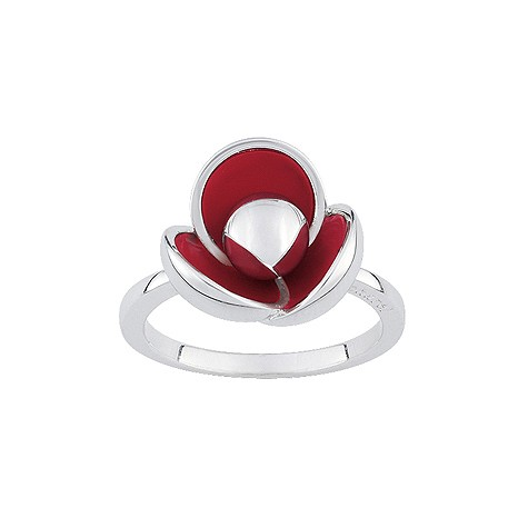 Cacharel sterling silver enamel poppy ring